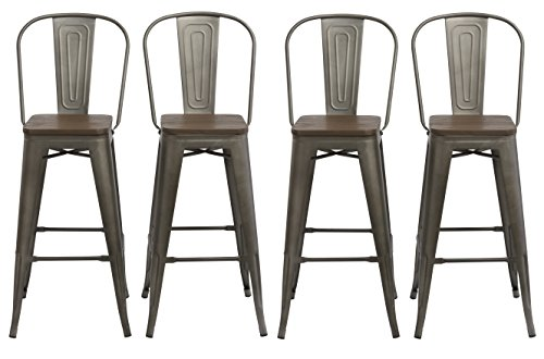 "BTEXPERT 30"" Industrial Metal Vintage Antique Copper Bronze Rustic Distressed Dining Counter height Bar Stool Chair High Back Handmade Wood top seat (Set of 4 Barstool )"