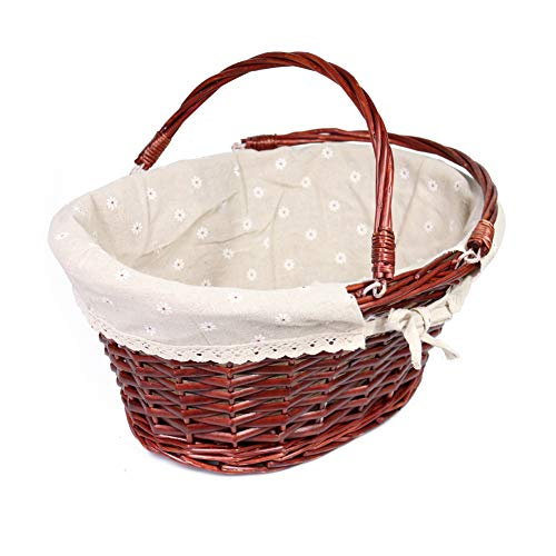 MEIEM Wicker Basket Gift Baskets Empty Oval Willow Woven Picnic Basket Easter Candy Basket Large Storage Basket Wine Basket with Handle Egg Gathering Wedding Basket -