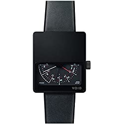 Void V02MKII-BL/BL Men's Analog Black Leather Band Black Dial Watch