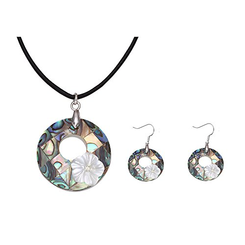 NOUMANDA Punk Round Hollow Flowers Abalone Shell Pendant Leather Necklace Earrings Jewelry Sets (sets) Shell Pendant Leather Necklace
