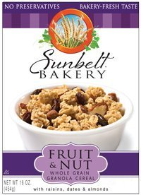 Sunbelt Fruit & Nut Granola Cereal, with Raisins, Dates, & Almonds, 16 Oz. (2 Pack) by Sunbelt Bakery