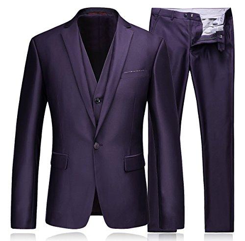YSMO Men's Slim 3 Piece Vested Solid One Button Jacket & Vest & Pants Wedding Prom Blazer by YSMO
