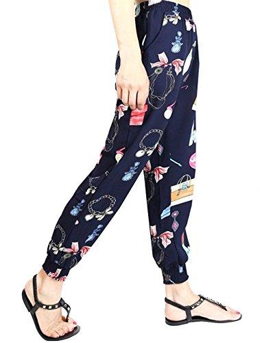 Eleganti Costume Lunghi Femminile Harem Vintage Fiore Stampa Hippie Fashion Waist Elastico Pluderhose Libero Pantalone Baggy Donna Tempo Colour 5 High Estivi Pantaloni 7fqpzH0F0
