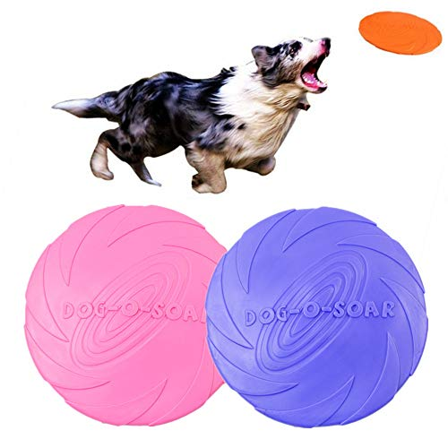 (Symphony Dog Frisbee Toy, 2pcs Pet Training Rubber Flying Saucer Interactive Toys for Small, Medium, or Large Dogs (Pink+Purple))