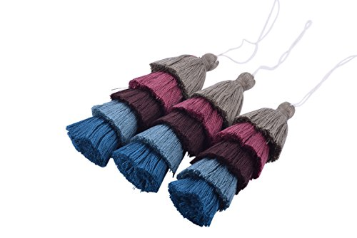 KONMAY 2pcs 4.8''(12.0cm) 5 Layers Craft Jewelry Layered Tassels with Hang Loop (Khaki and Teal)
