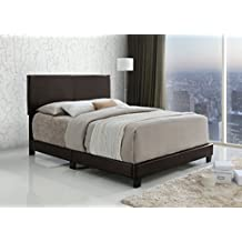 Dark Brown Bonded Leather Queen Size Upholstered Headboard Footboard