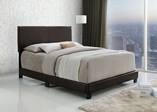 eHomeProducts Dark Brown Bonded Leather Queen Size Upholstered Headboard Footboard