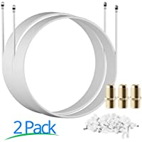 Maximm Coaxial Cable, 50 Feet, White, [2 Pack] - RG6 F-Pin Triple Shielded UL CL2 In-Wall Rated RG6 Digital Audio / Video includes Connectors and Cable Clips