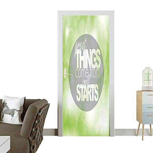 Homesonne Door Sticker Wallpaper Th gs Come from Small St Motivati al sage Quote Image Lime Green Gre Fashion and Various patternW31 x H79 INCH ()