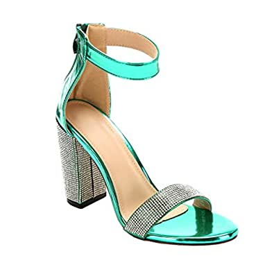 ARIES Womens Ankle Strap Chunky Block High Heel Sandals Cute high Heels Green Size: 6