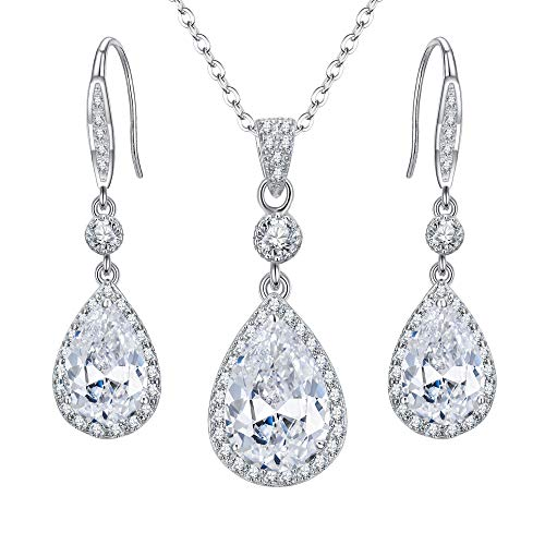 EleQueen 925 Sterling Silver Full Cubic Zirconia Teardrop Bridal Pendant Necklace Hook Dangle Earrings Set Clear