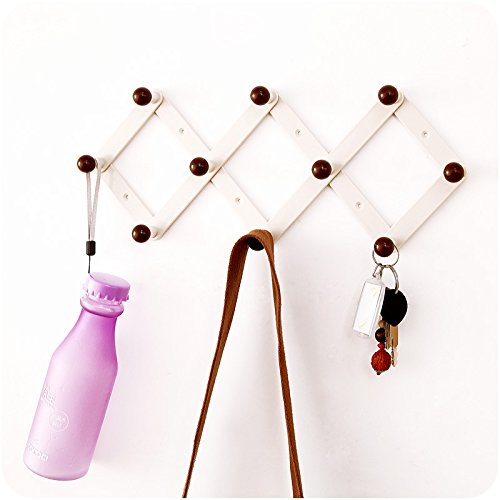 (Candyqueen 1Pcs Adhesive Hanging Wall ABS (Plastic) Peg Hooks Wall Rack Hanger for Coat/Keys/Hats/Purse/Bag/Coffee Mugs Home Decor)
