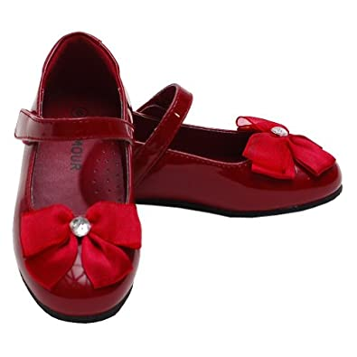 Amazon.com - L&-39-Amour Patent Red Slip On Bow Dress Shoes Toddler 10 ...