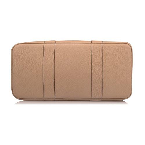 Ainifeel Women's Genuine Leather Top Handle Handbag Shopping Bag Tote Bag (Taupe(leather+canvas)) by Ainifeel (Image #4)