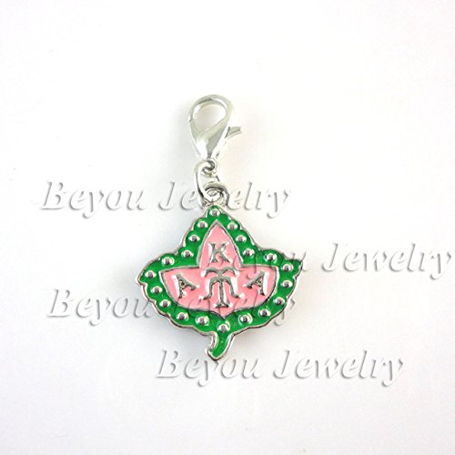 Alpha Kappa Alpha Greek Sorority AKA Ivy dangle Charm Pendant aka enamel ()
