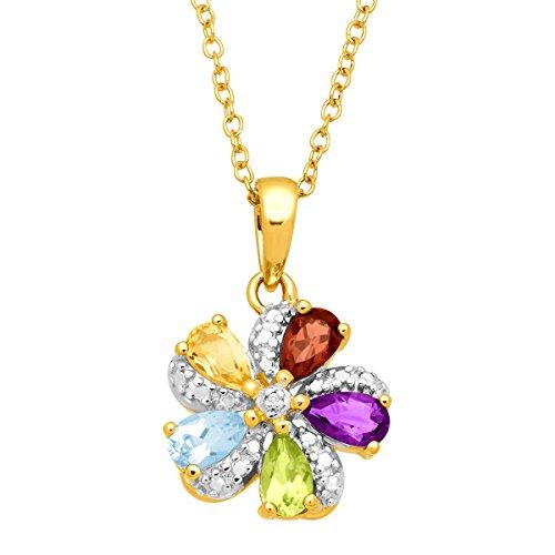 - 1 1/6 ct Natural Multi-Gem Pinwheel Flower Pendant in 18K Gold-Plated Sterling Silver, 18