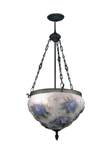 Dale Tiffany 10236/3LTE Hydrangea Pairpoint Fixture, Antique Bronze