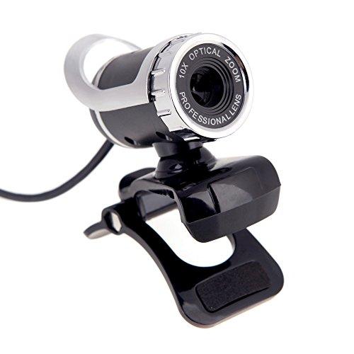 🥇 KKmoon – Webcam HD USB 2.0 50M Pixels 360 ° Ajustable con micrófono Integrado para Skype Escritorio PC portátil Plata