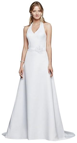 David\'s Bridal Halter V-neck Wedding Dress with Flower Detail Style ...