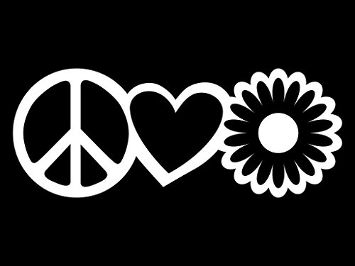White Lily Florist (Peace Love Flower Vinyl Decal Sticker | Cars Trucks Vans Walls Laptops Cups | White | 7.5 X 2.9 Inch | KCD1632W)