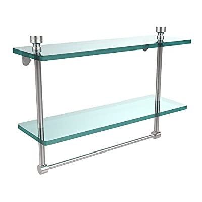 Allied Brass FT-2/16TB-PC 16-Inch Double Glass Shelf with Towel Bar