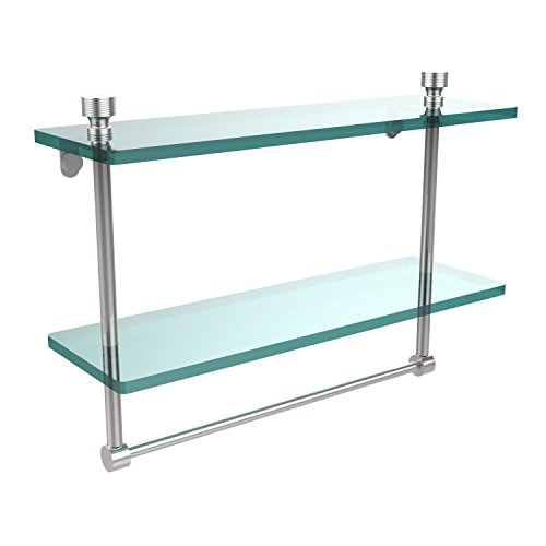 Allied Brass FT-2/16TB-PC Foxtrot Collection 16 Inch Two Tiered Glass Shelf with Integrated Towel Bar, Polished Chrome ()