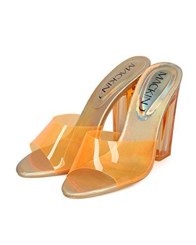 Sandalias Con Tacón Grueso Y Escarpada En El Talón Para Mujer Alrisco Mujer Perspex - Hh03 De Mackinj Collection Orange