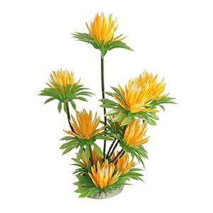 Jardin Artificial Plastic Water Lily Lotus Plant Aquarium Ornament, 10-Inch High, Yellow