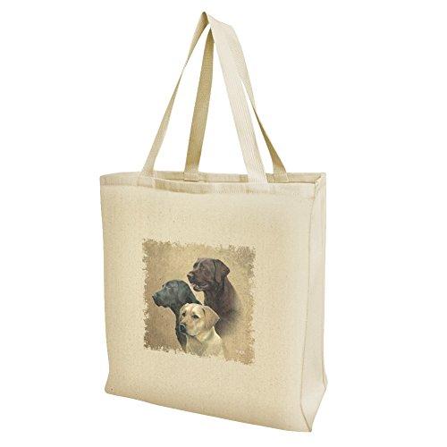 - Labrador Retriever Trio Dogs Portrait Grocery Travel Reusable Tote Bag - Large