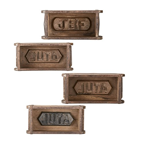 INK+IVY Woodson Antique Brick Molds Wooden Signs Set, Rustic Letters Vintage Home Accessories, Bathroom Wall Kitchen Decorations, Antique Brown