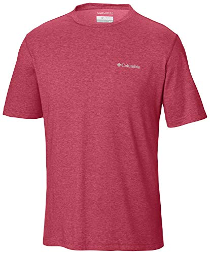 (Columbia Men's Thistletown Park Crew, Sun Protection, Breathable, red, Mountain Red Heather )