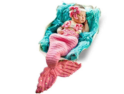 Newborn Baby Girl/Boy Crochet Knit Costume Photography Prop Hats and Outfits (Little Mermaid)