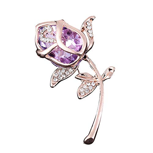 Finance Plan The Latest Women Fashion Rose Flower Rhinestones Brooch Pins Badge Jewelry Accessories Gift Purple