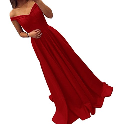 Satin Long Dress (Dressylady 2017 Burgundy Off-Shoulder A Line Long Prom Homecoming Dress Evening Gowns(2))
