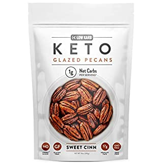 Low Karb - Keto glazed nuts Snack - Delicious Healthy Nut Mix - Only 1 Net Carb Per Serving - Keto Snacks & Low Carb Food (10 oz) (Glazed Pecans)