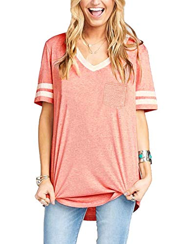 Sweetnight Women's Basic V Neck Short Sleeve T Shirts Summer Casual Tops with Front Pocket (Pink, XL)
