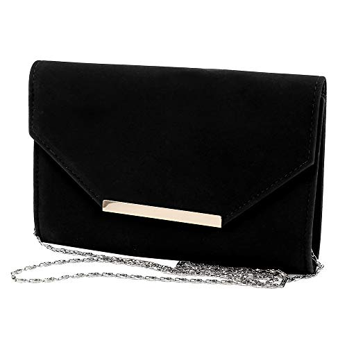 Bag with Women Prom Chain Clutch Velvet Black Purse Shoulder Ladies Handbag Envelope Suede Trim Faux Evening xxBw4qO