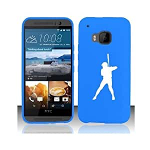 HTC One M9 Snap On 2 Piece Rubber Hard Case Cover Baseball Player (Light Blue)