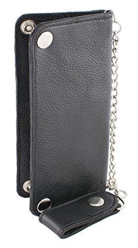Milwaukee Leather MLW7870-PCS Black Tri-Fold Long Wallet with Steel - Wallet Milwaukee Leather