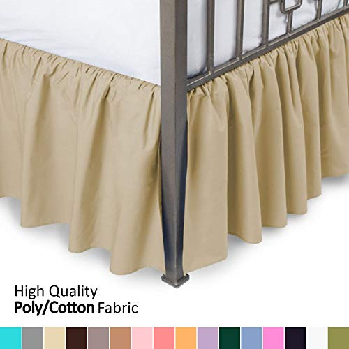 Ruffled Bed Skirt with Split Corners - Queen, Gold, 18 Inch Drop Bedskirt (Available in and 16 Colors) Dust Ruffle.
