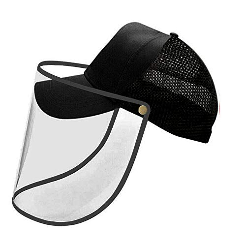 VVM Tech Ltd Unisex Hat with Plastic Face Cover/Baseball Cap with Face Shield Anti-Saliva Eye Protective Sun Protection…
