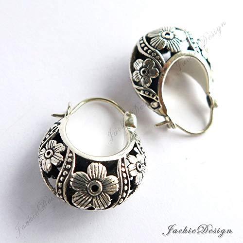 Cherry Blossom Flower Hobo Hoop Oxidized Sterling Silver Earrings -