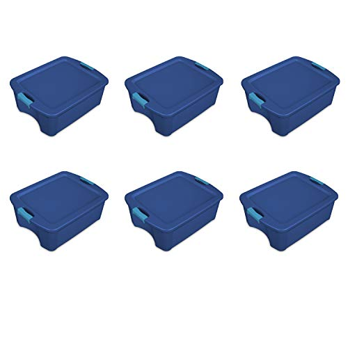 - Sterilite 14447406 12 Gallon/45 Liter Latch and Carry, True Blue Lid & Base with Blue Aquarium Latches, 6-Pack