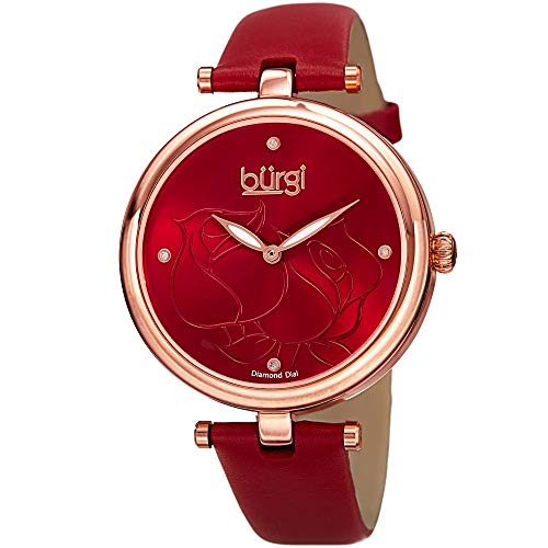 Burgi Women's BUR151RD Rose Gold Quartz Watch With Red Diamond Dial And Red Leather Strap Diamond Chronograph Red Leather Watch