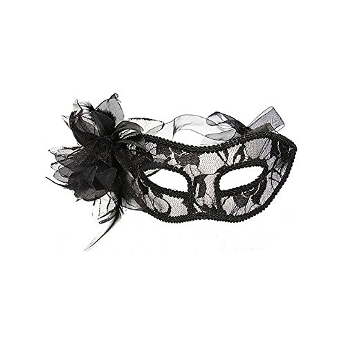 BabeMall Attractive Ladies Party Costume Black Floral Lace Feathered Mask (Lady Costume Mask)