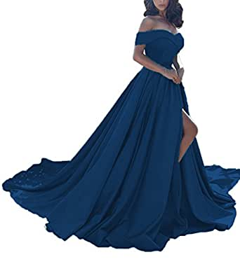2017 Sexy Off-Shoulder A Line Long Prom Homecoming Dress Evening Gowns Blue CS