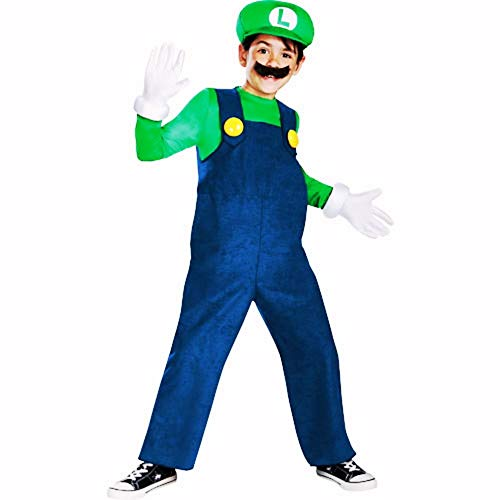 HalloCostume Boys Luigi Costume Deluxe - Super Mario Brothers, Halloween Kids' Boys' Costumes for Children