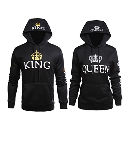 YJQ King Queen Matching Couple His Her Pullover Hoodies Set Black Men M + Women L by YJQ