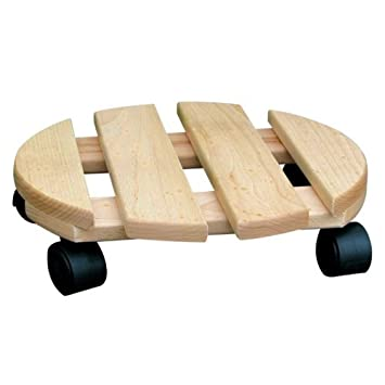 Soporte para macetas redondo de madera maciza de 30 cm con resistencia para hasta 120 kg: Amazon.es: Jardín