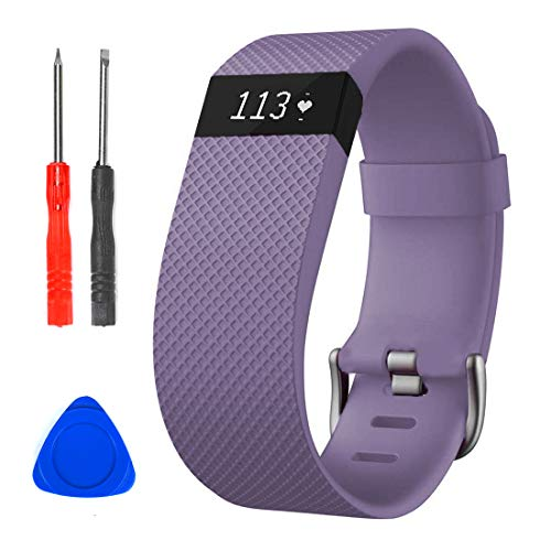Sophili Bands Compatible for Charge Hr, Silicone Replacement Small Large with Metal Buckle Fitness Wristband Strap for Fitbit Charge HR / HR1(Violet/S)